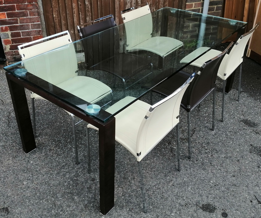"6ft7"" Glass Top Table & 6 Chairs"