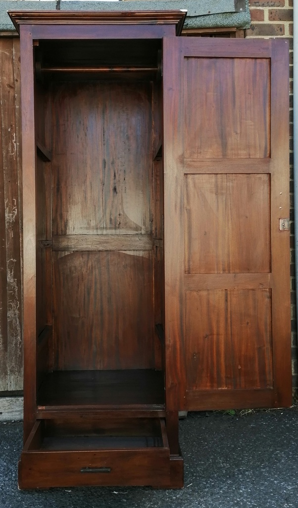 Dark Wood Single Wardrobe with Drawer