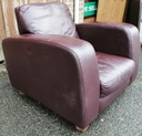 Plum Brown Leather Armchair