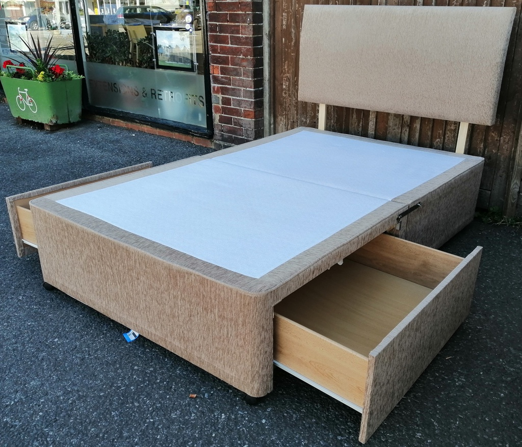 4ft Two Drawer Platform Top Divan Base with Headboard