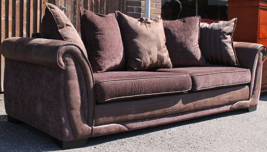 Brown DFS Pillow Back Sofa