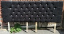 6ft Black Buttoned Headboard