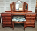 DUCAL Dressing Table Set /w Mirror & Stool