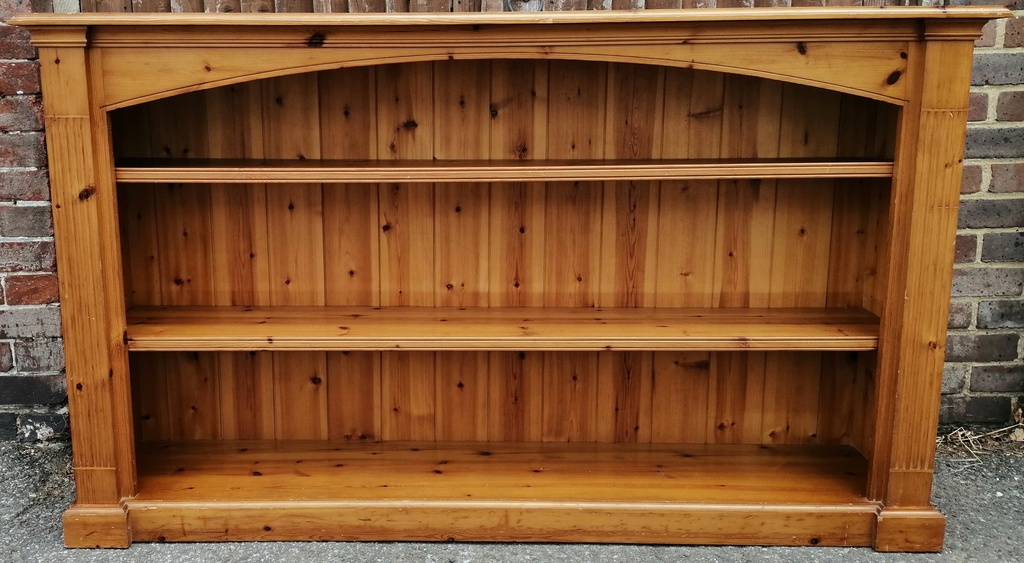 Pine Low Wide Bookcase