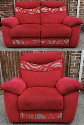 [HF1350] Red Sofa & Armchair