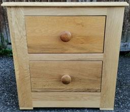 [19028] Solid Oak Two Drawer Bedside Chest