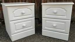 [19842] White Two Drawer Bedside Chest