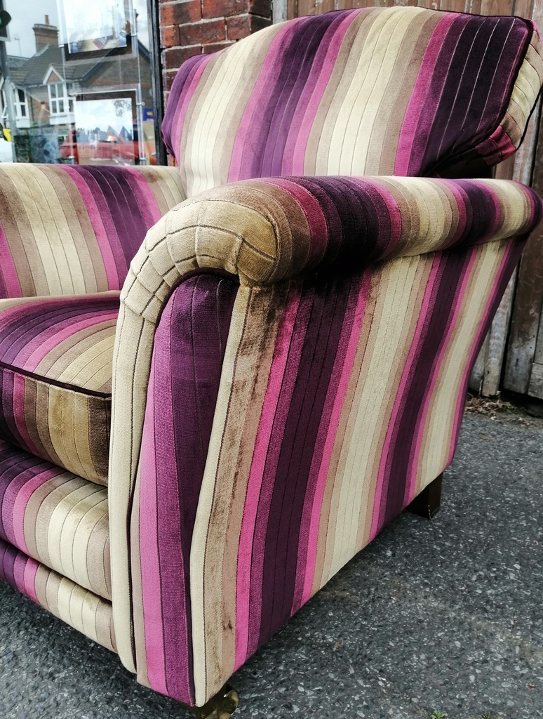 Purple & Gold Stripe Armchair