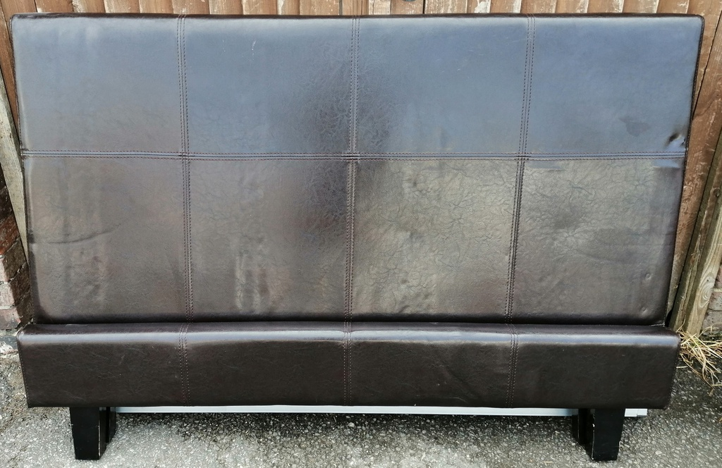 "4ft6"" Brown Faux Leather Bed Frame"