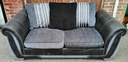 DFS Grey Toned Pillow Back Two Seater Sofa