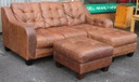 Tan Brown Leather L-Shape & Stool