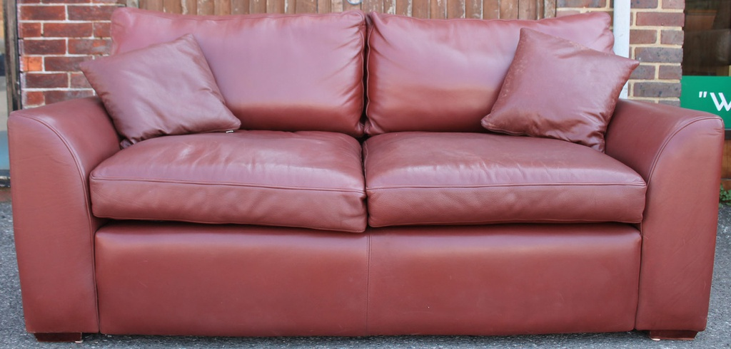 Chestnut Leather 2 Seater Sofa