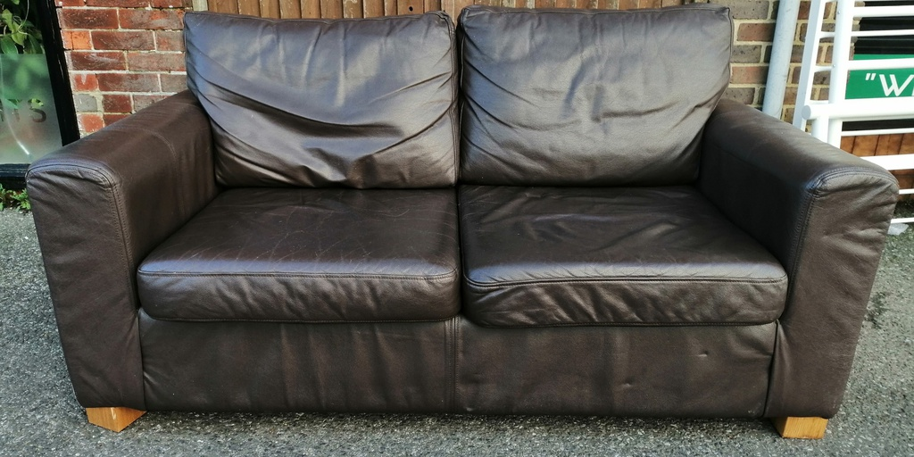 Brown Leather Two Seater Sofa Bed