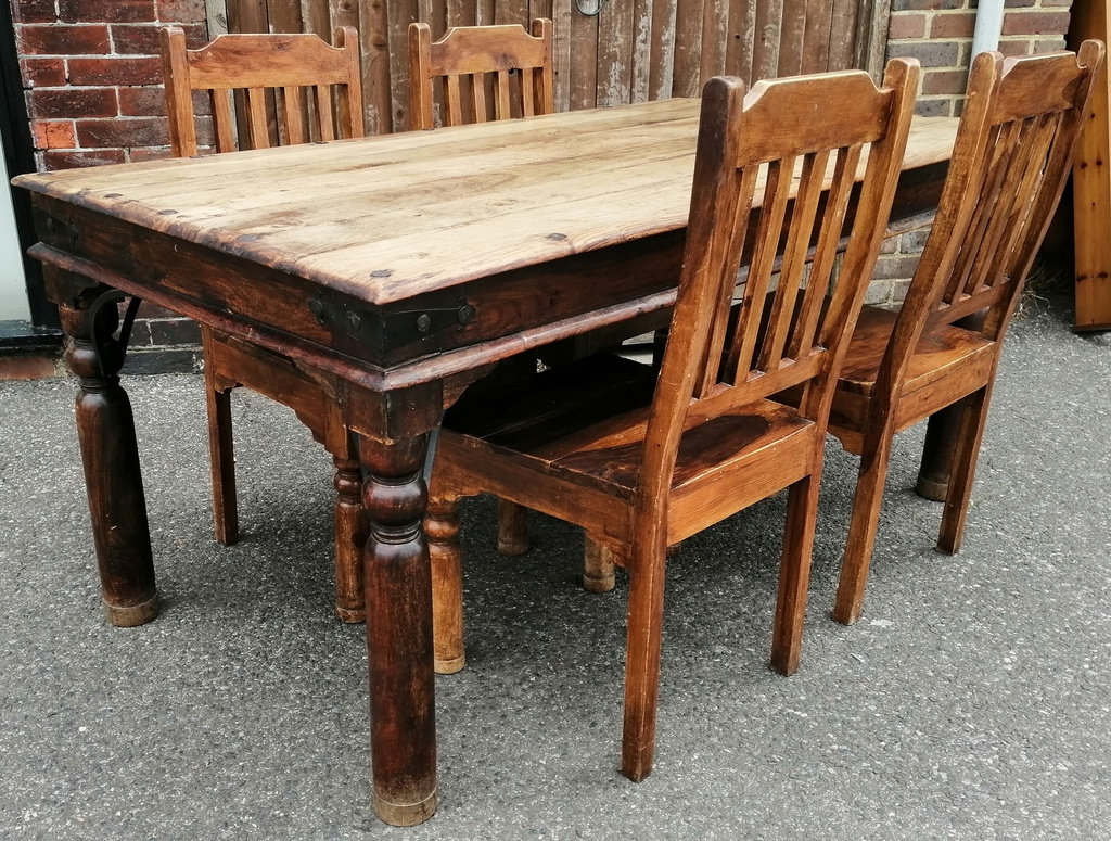 "5ft7"" Sheesham Dining Table and Four Chairs"