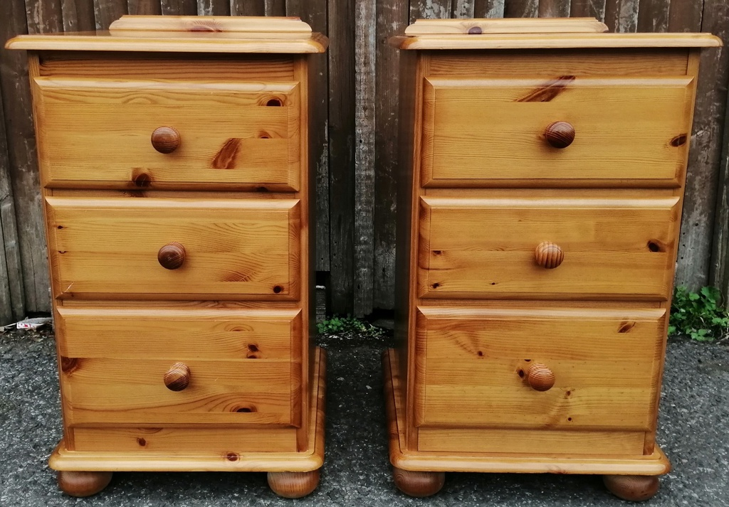 Honey Pine Three Drawer Bedside Chest