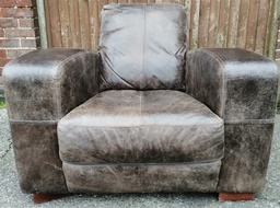 [HF3139] Distressed Leather Armchair