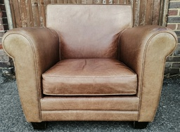 [19846] Brown Distressed Leather Armchair