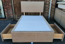 [HF4249] 4ft Two Drawer Platform Top Divan Base with Headboard